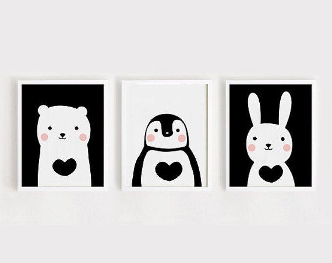 Printable Nursery Art Set of 3 Poster Baby room Wall art Kids room ...