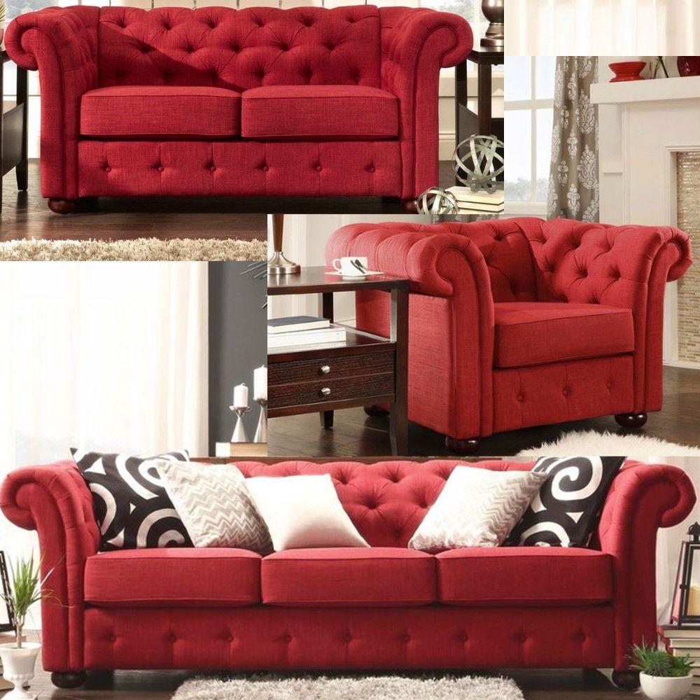 Chesterfield Living Room Set   Tufted Tuxedo Sofa, Loveseat U0026 Armchair In  RED Linen Showcasing