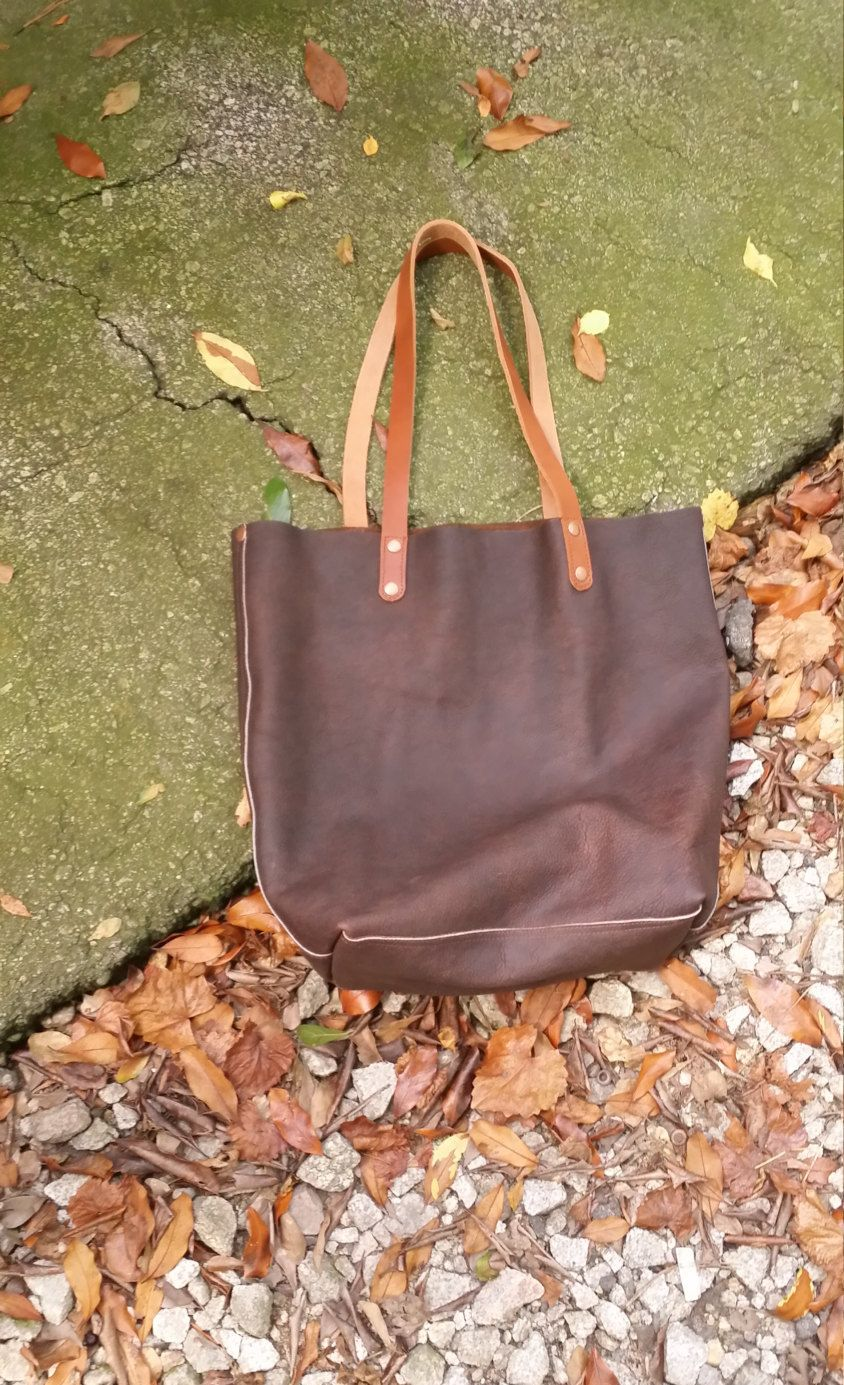ba1e988fa5 Big Brown Bag Rustic Oily Full Grain Leather Tote Bag Purse Satchel Handmade  in USA by jewelrypieces on Etsy
