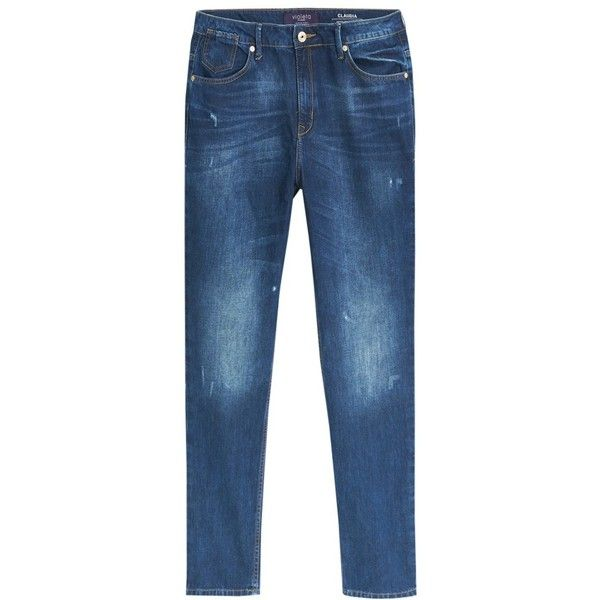 Violeta by Mango Claudia Boyfriend Jeans, Open Blue (92 CAD) ❤ liked on Polyvore featuring jeans, distressed jeans, plus size distressed jeans, destructed boyfriend jeans, distressed boyfriend jeans y plus size boyfriend jeans