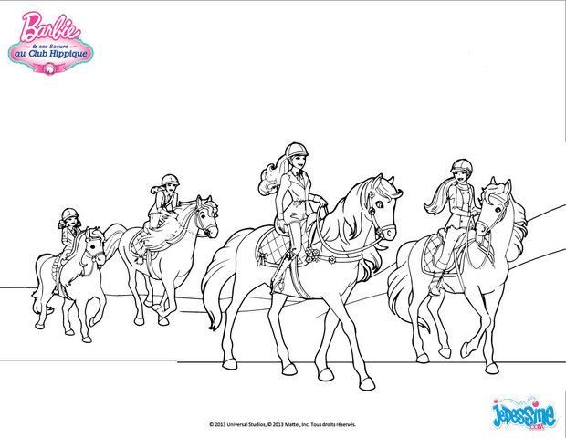 Joli coloriage de barbie et ses amie en balade avec des - Coloriage barbie cheval ...