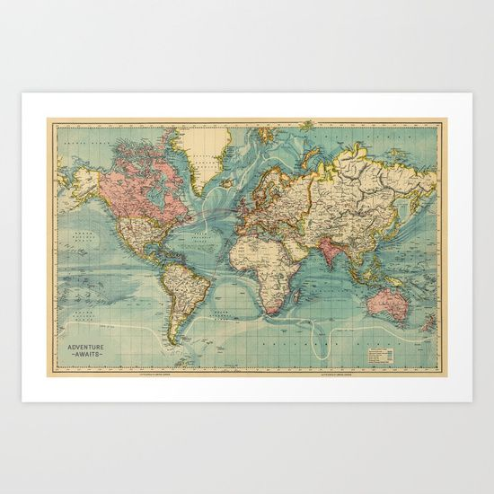 Adventure awaits world map art print by hipsters wonderland adventure awaits world map art print by hipsters wonderland worldwide shipping available at gumiabroncs Image collections