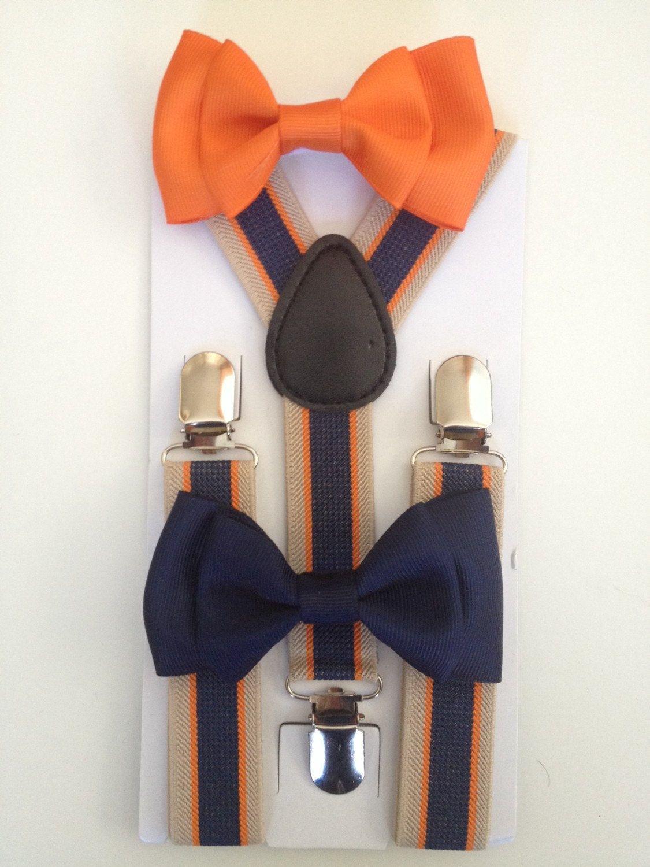 7cfd6f53d8f8 Suspender & Bowtie set Orange Striped Suspenders Baby bow tie Suspenders  Navy Blue Boys Bowties