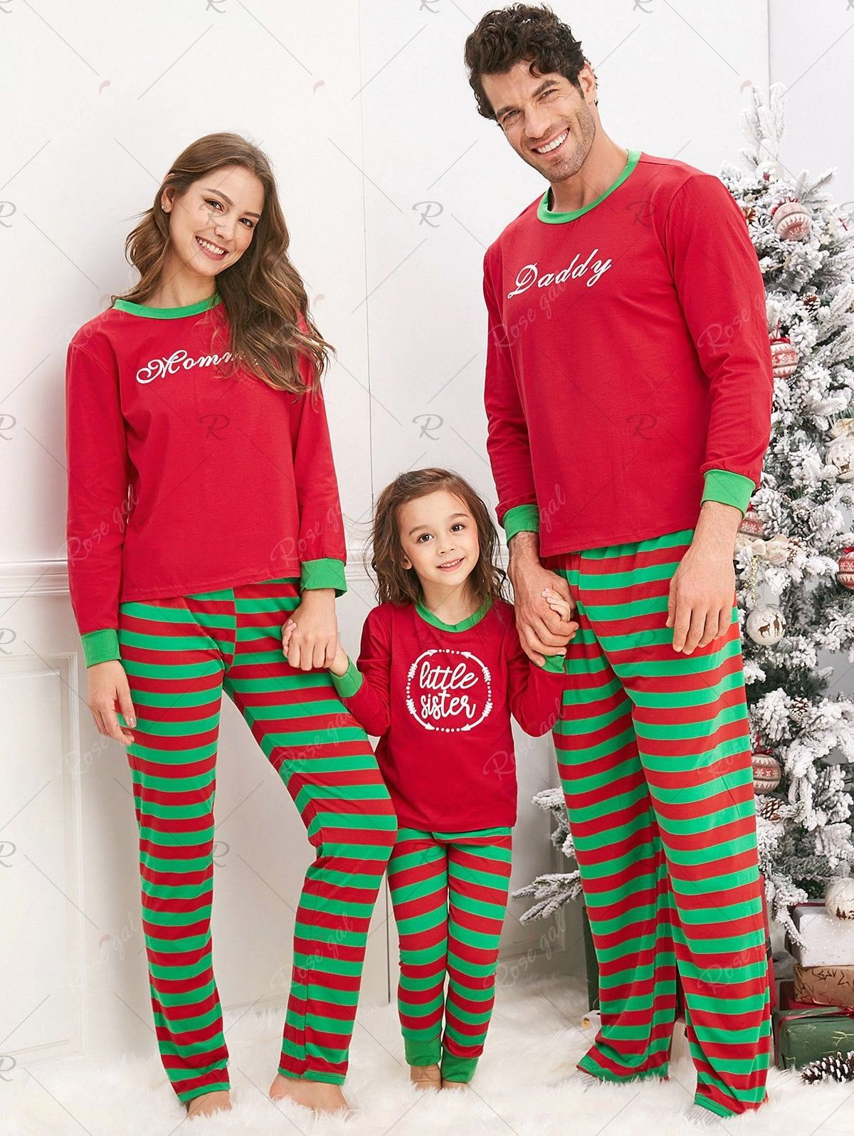 Christmas Striped Letter Printed Matching Family Pajama