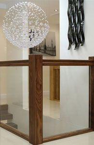 Best Black Walnut Handrail Vision Glass Balustrade Panels 400 x 300