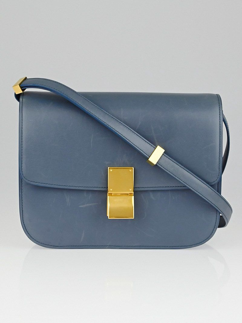 b18b87f80a Celine Slate Blue Calf Leather Medium Classic Box Bag