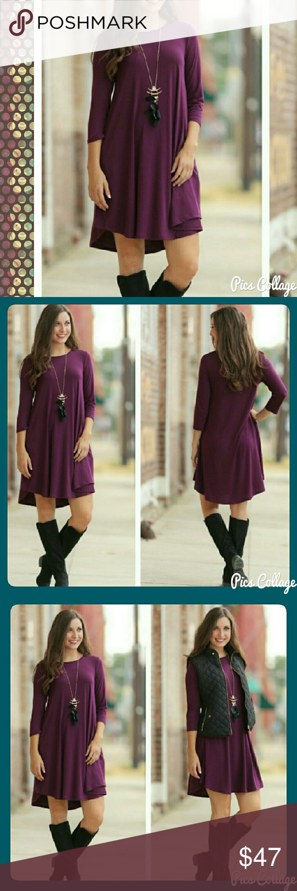 Plum 3/4 Sleeve Tunic/Dress w/Pockets Soft, comfy, true to size ...