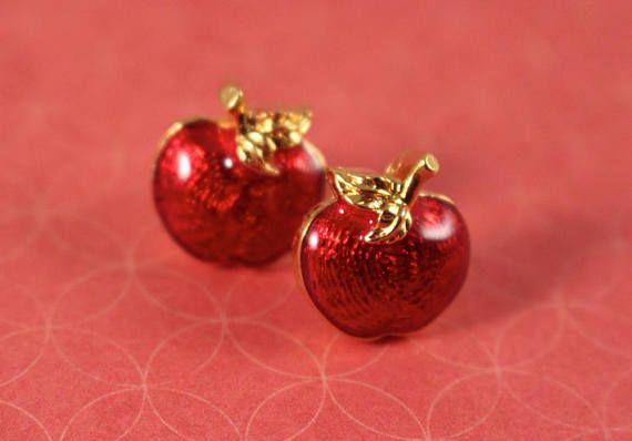 c5849bf4ea67c Avon Apple Harvest Red Apple Pierced Earrings with | Vintage Group ...