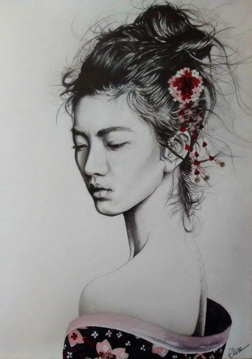 Dessin Portrait D Une Jeune Femme Asiatique En Geisha Dessins