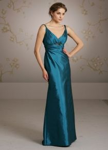 bright jade long bridesmaids dress with twisted shoulder straps