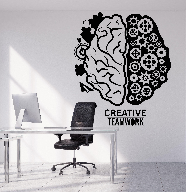 Vinyl Wall Decal Brain Business Teamwork Gear Creative Office