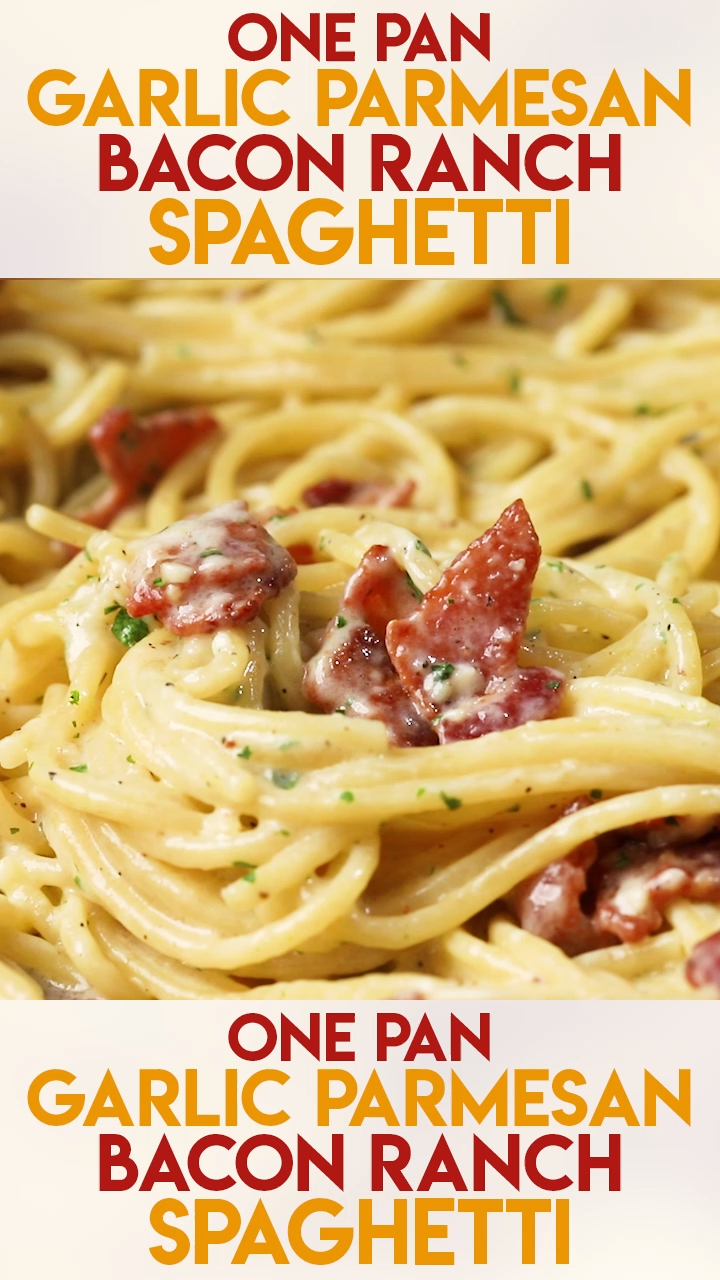 One Pan Garlic Parmesan Bacon Ranch Spaghetti #meals