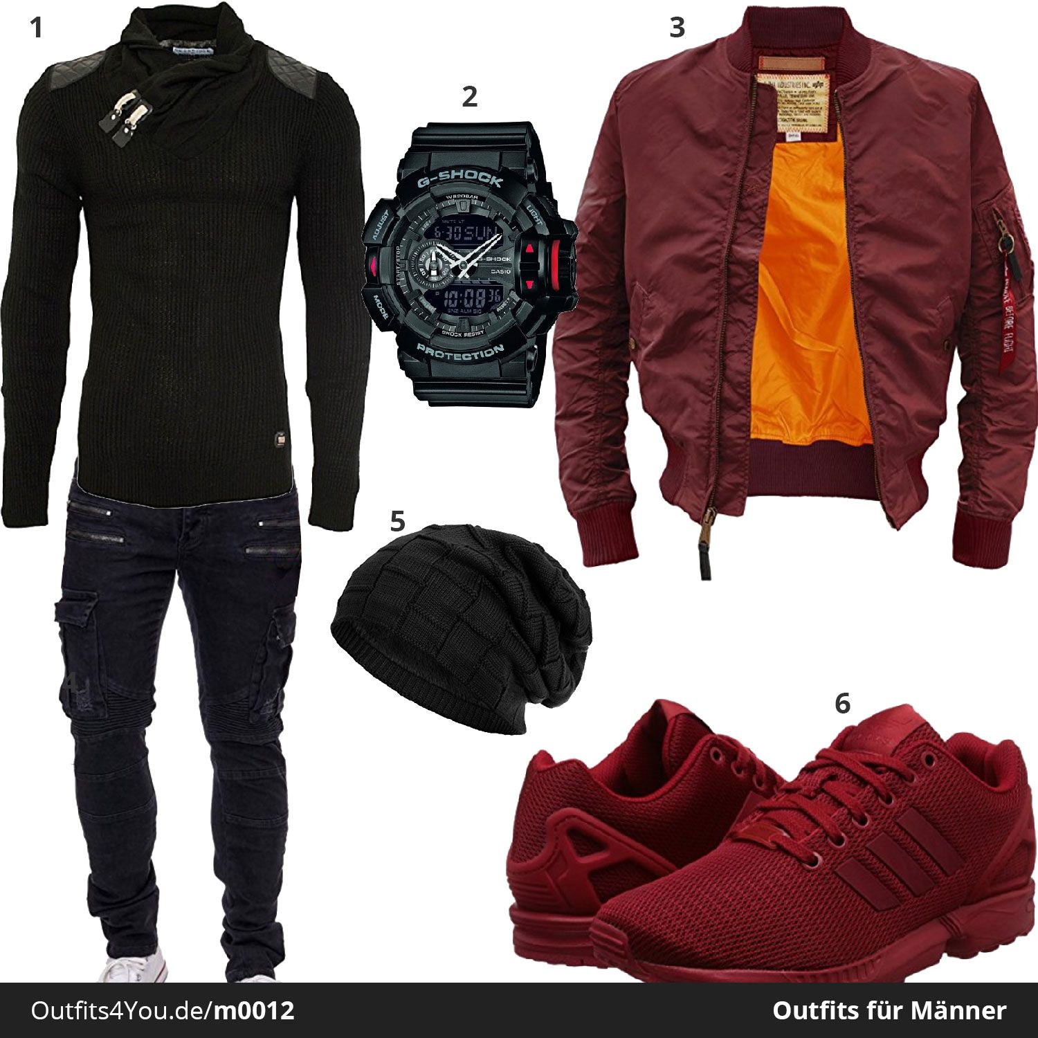 cooler herren outfit in schwarz und dunkelrot mit alpha industries jacke g shock armbanduhr. Black Bedroom Furniture Sets. Home Design Ideas