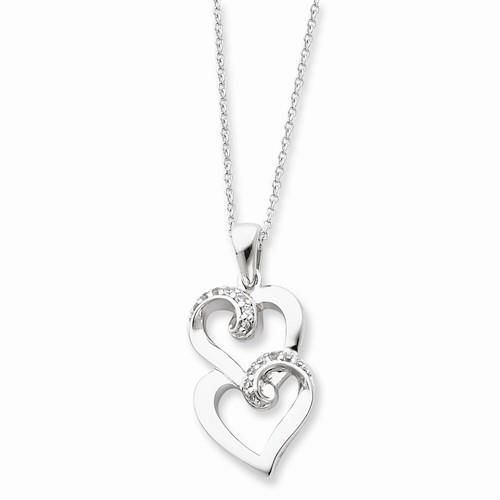 NEW-SENTIMENTAL-EXPRESSIONS-STERLING-SILVER-CZ-TO-MY-SISTER-18-HEART-NECKLACE