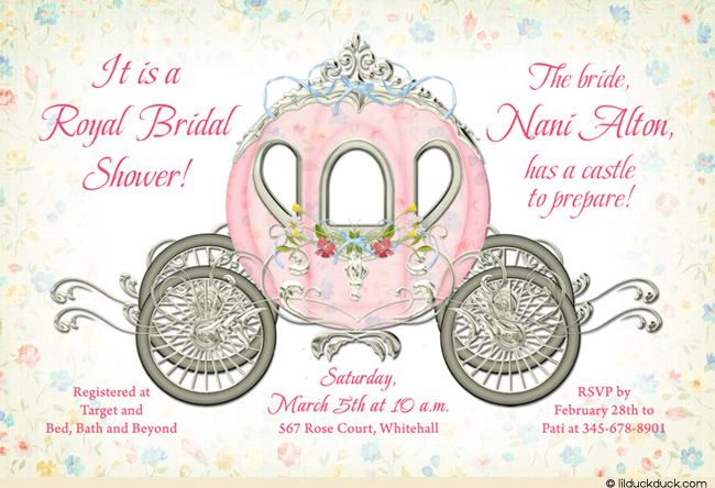 delicate princess bridal shower invitation