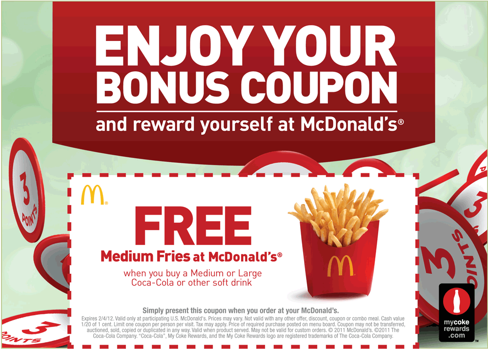 image regarding Fry's Printable Coupons known as Pinned Oct 21st: Medium french fry cost-free with your consume