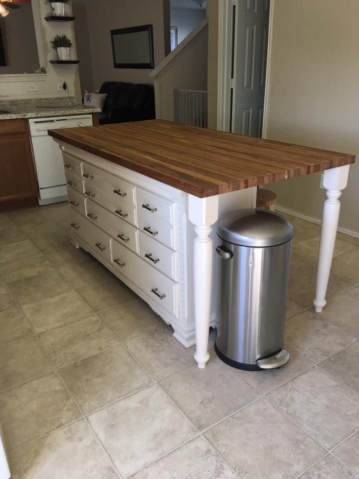 Kitchen island made with dresser butcher block pinteres for Kitchen island with drawers and seating