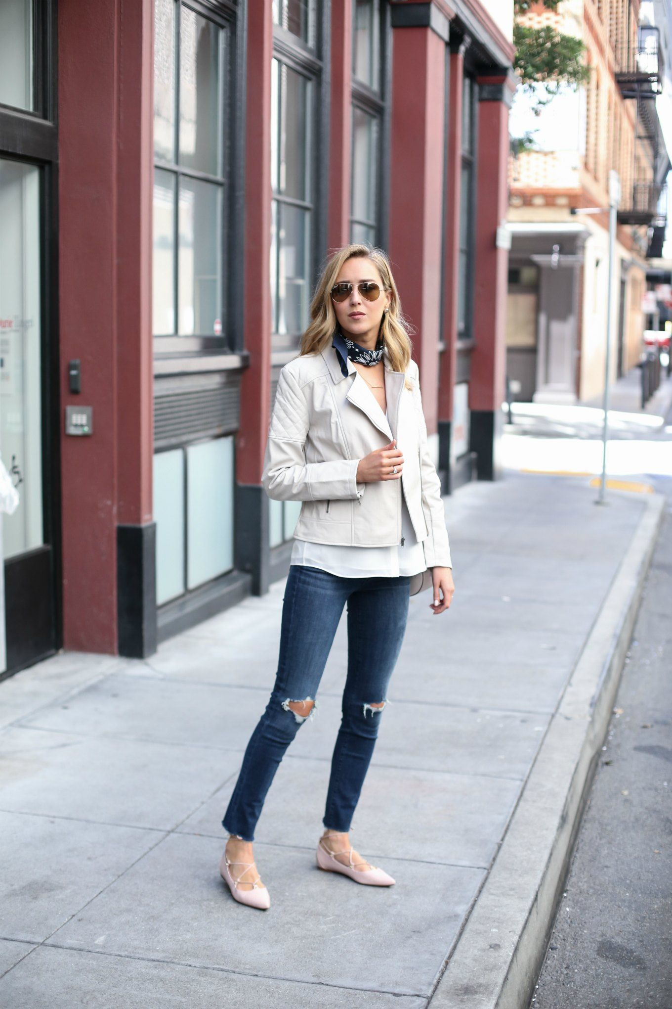 Ripped Jeans and Nude LaceUp Flats Outfit inspiration Pinterest