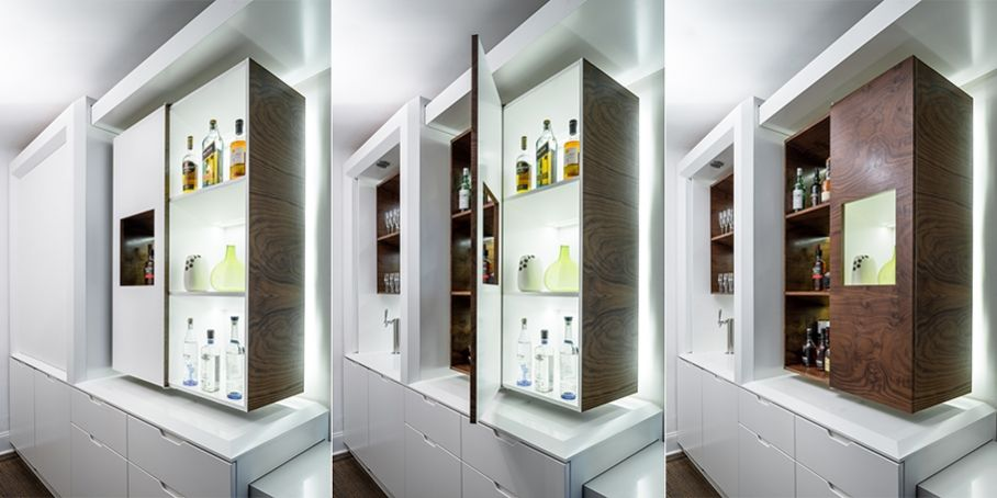 Vodka versus bourbon Lacquer versus walnut burl Homage to Gio - küchen modern design