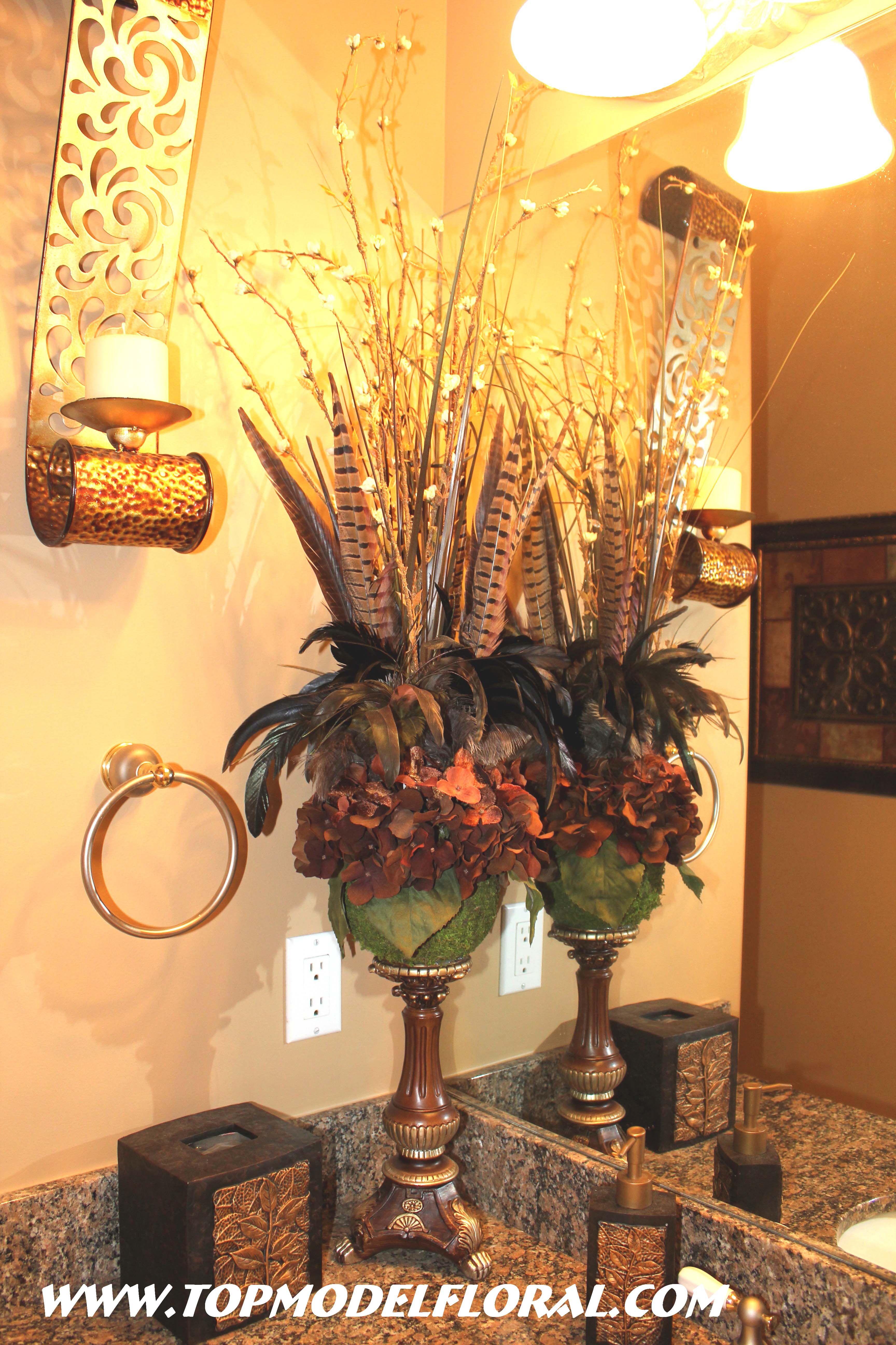 awesome bathroom flower decorations | flower arrangement | For the Home | Tuscan bathroom decor ...