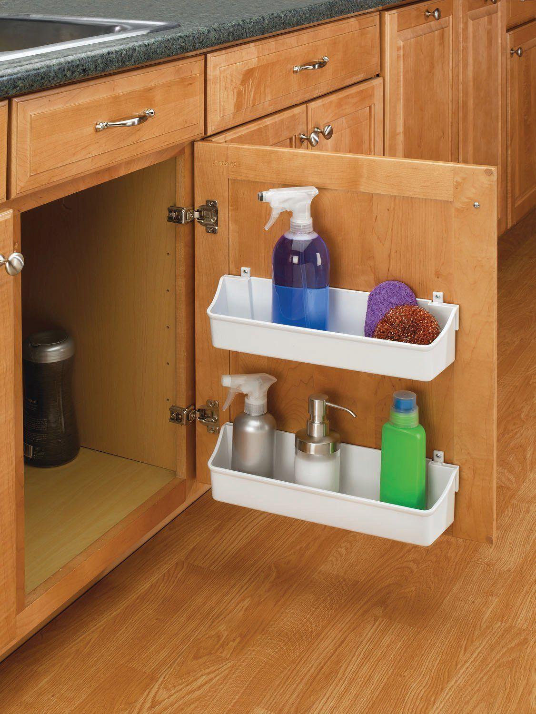 7 8 Wide Polymer Door Storage Trays Almond Cabinet Organizer