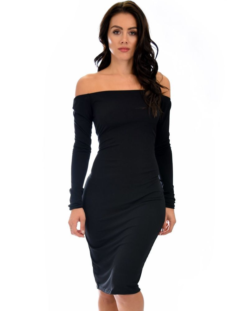 856b6e435cd3 Bold Move Off The Shoulder Bodycon Midi Dress Black Burgundy Navy Olive   fashion  clothing  shoes  accessories  womensclothing  dresses (ebay link)