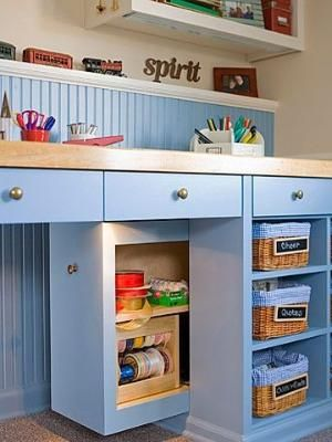 Custom desk - instead of deep shelves/drawers consider pullout storage - lights up when pulled out (extra shelves behind the pullout when closed) by rosalyn