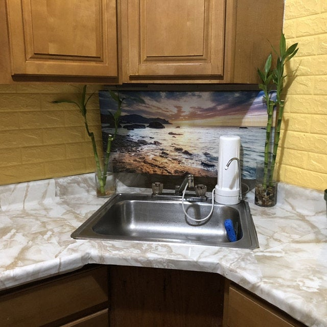 Self Adhesive Marble Venetian Gold Granite Kitchen Countertop Instant Update Removable Thick Waterproof Vinyl Not Paint Or Contact Paper In 2020 Diy Kitchen Countertops Countertop Makeover Contact Paper Countertop