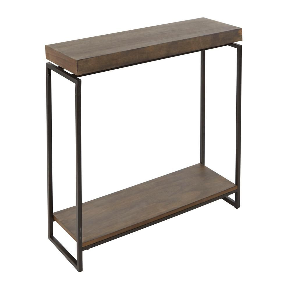 Silverwood Furniture Reimagined Bronson 10 In Gunmetal Gray Rectangle Wood Console Table Cpft1449e The Home Depot Slim Console Table Gray Console Table Console Table