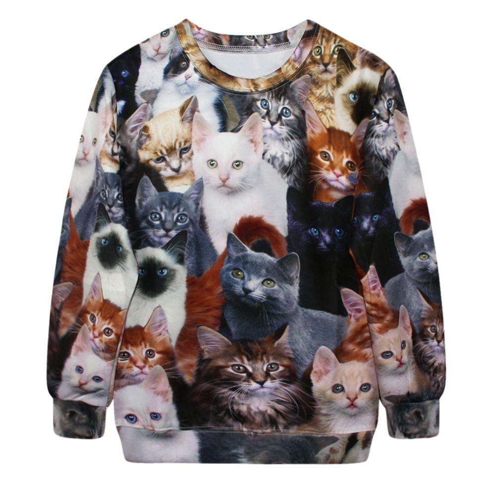 Barato Leste KNITTING G173 2014 outono quente mulheres Hoodies 3D Cats imprimir camisola lazer gola redonda longo luva bordada com capuz Tops, Compro Qualidade Moletons diretamente de fornecedores da China: