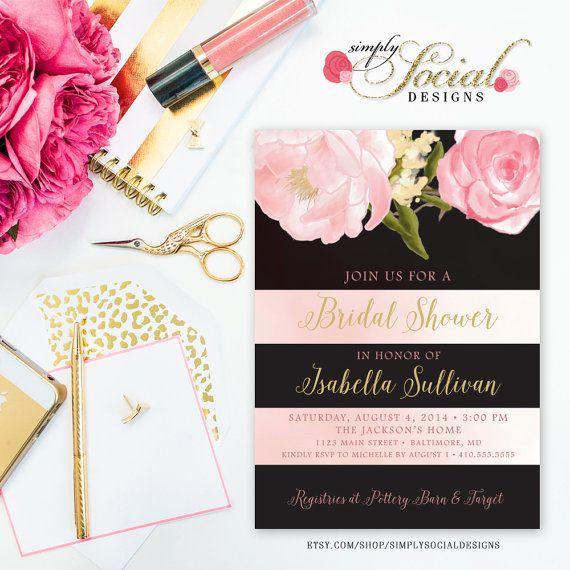 Romantic Garden Peonie Flowers Stripes Blush Pink Bridal Shower Invitation Printable