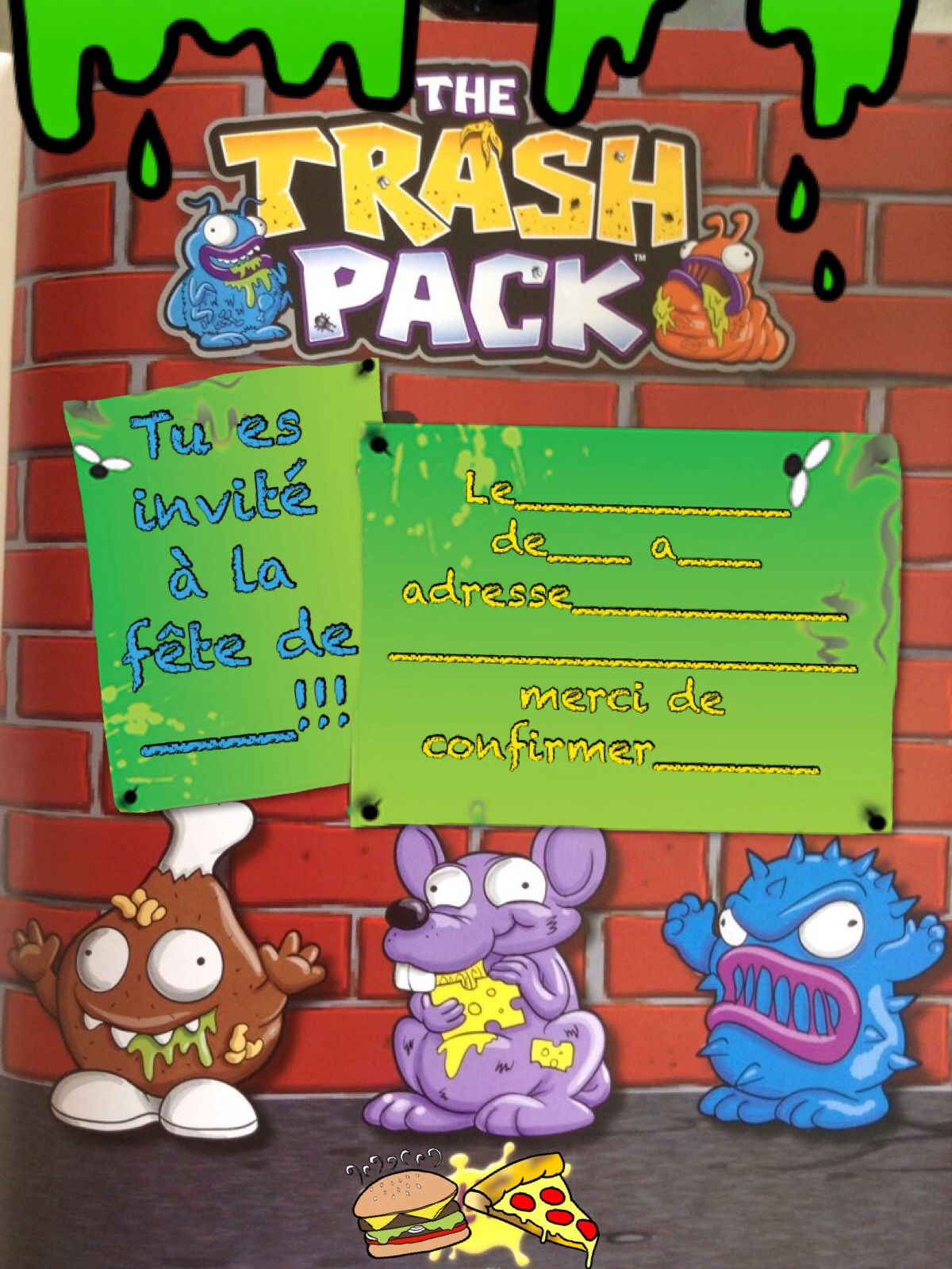 Invitation noah 5 pinterest trash pack trash pack for Pack diagral anniversaire