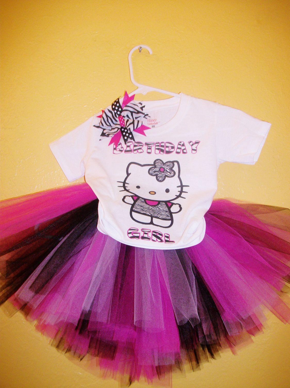 Hello kitty zebra tutu birthday outfit by karsynsbowtique on etsy