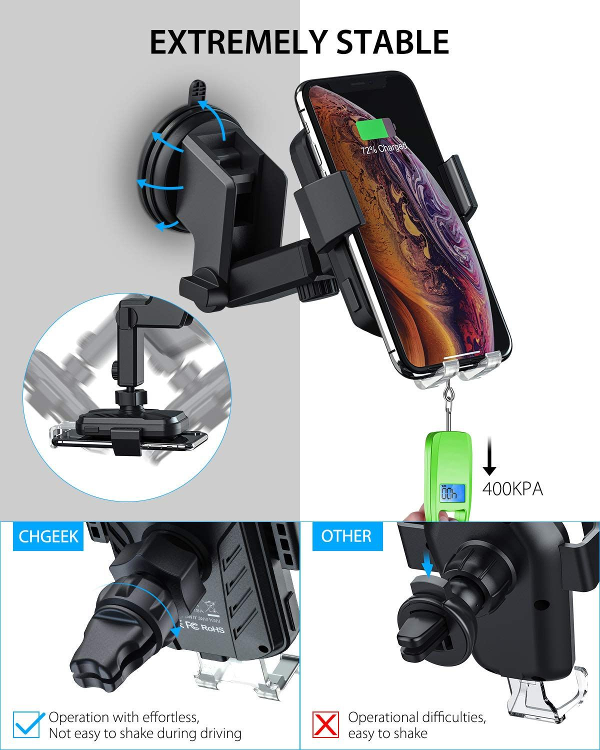 Samsung Galaxy S10 S10+S9 S9+ S8 Note 9 Wireless Car Charger etc CHGeek 10W Qi Fast Charging Auto Clamping Car Mount Windshield Dashboard Air Vent Phone Holder for iPhone Xs Max XR X 8 8 Plus