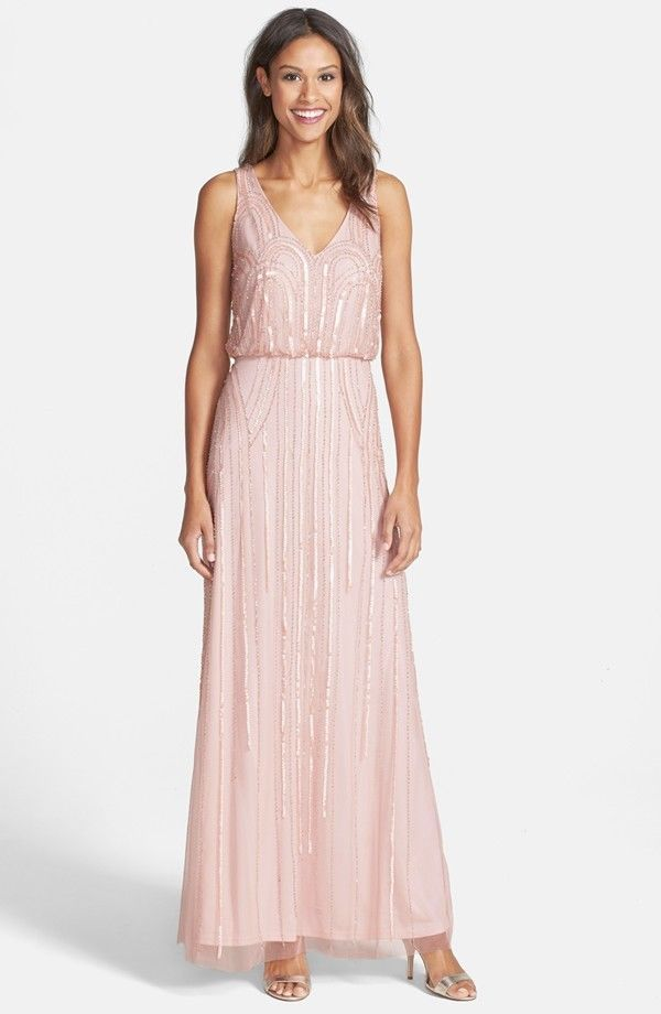 ADRIANNA PAPELL Beaded Mesh Blouson Gown MOTHER OF BRIDE BLUSH Sz 10 ...