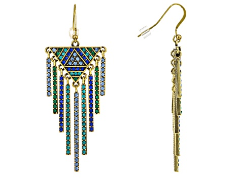 Multicolor Crystal Antiqued Gold Tone Dangling Earrings