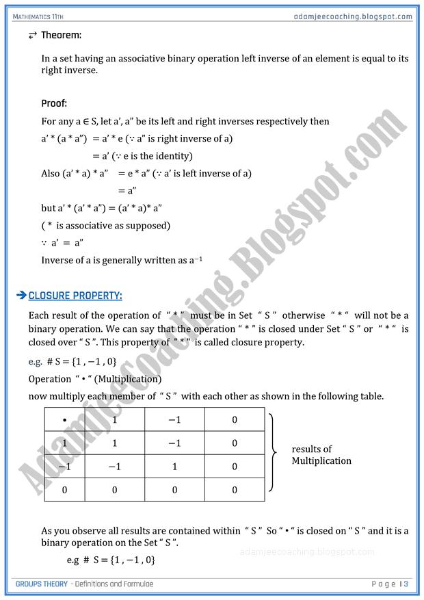 Adamjee Coaching Groups Theory Definitions And Formulae Mathematics 11th Group Theory Theory Definition Mathematics