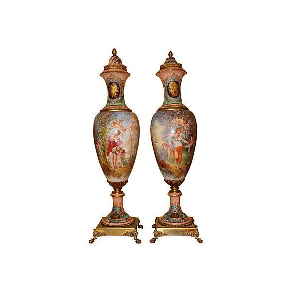 Pre-Owned 19th-C. French Grand Palace Urns Pair ($12,395) via Polyvore featuring home, home decor, decorative accessories, multi, french urn, bronze home decor, bronze urn, french home decor and french lantern