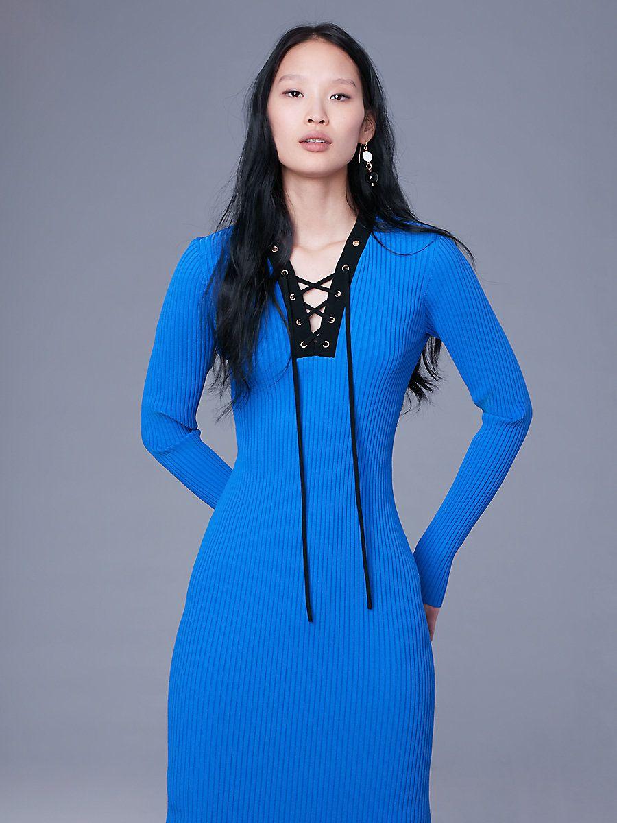 Long Sleeve Lace Up Sweater Dress In Cobalt Black Little