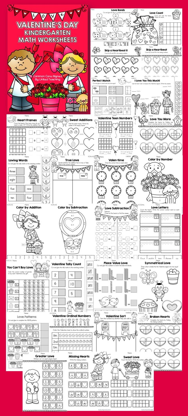 Valentine\'s Day Kindergarten Math Worksheets | Kindergarten math ...