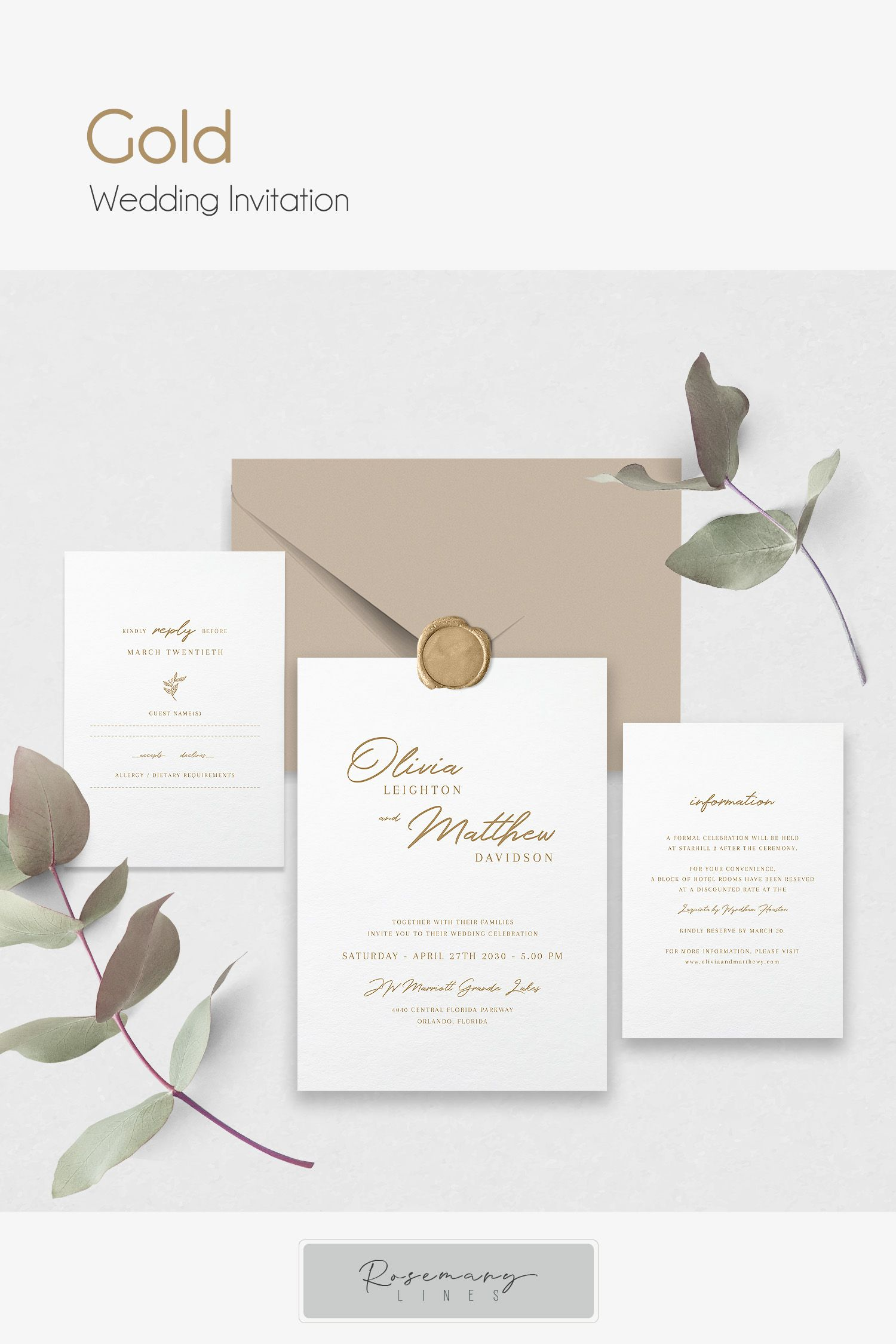 Gold Wedding Invitation Template Gold Wedding Suite Elegant Etsy In 2020 Gold Wedding Invitations Wedding Invitation Templates Wedding Invitations