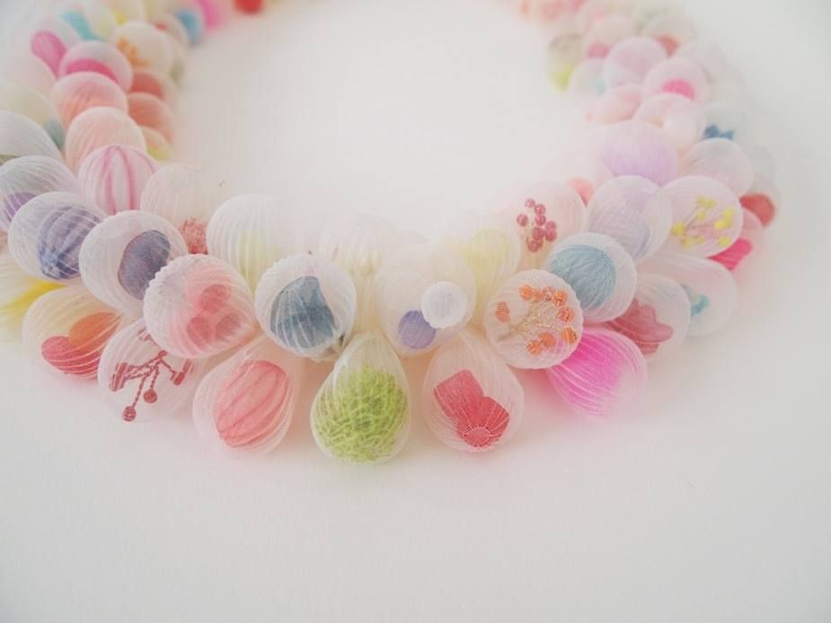 "Mariko Kusumoto Necklace Polyester, thread 8"" x 8"" x 1.2"""