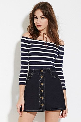 Striped Off-the-Shoulder Top | Forever 21 Canada
