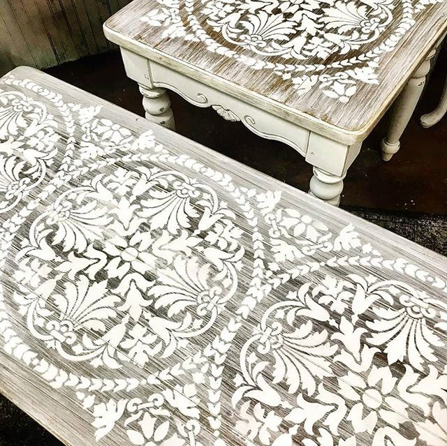 Painted and stenciled furniture ideas on a budget with white washed wood and diy tile stencil patterns from Cutting Edge Stencils #vintage
