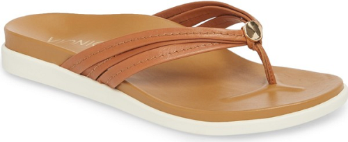 4003c741a5fe1 Vionic Catalina Flip Flop in Brown. A trio of slim straps accented ...