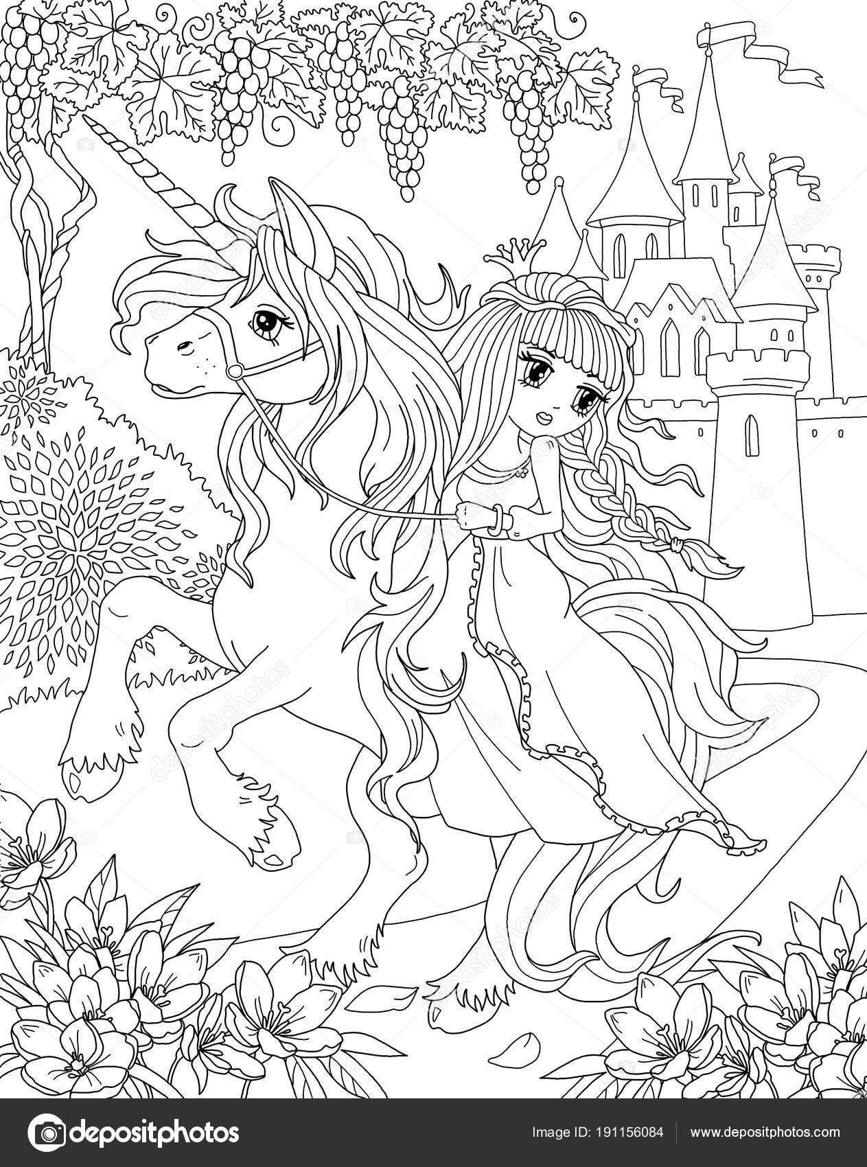 Beautiful Princess And Unicorn Coloring Page By Anna Velichkovsky Via Dreamstime Unicorn Coloring Pages Fairy Coloring Pages Fairy Coloring