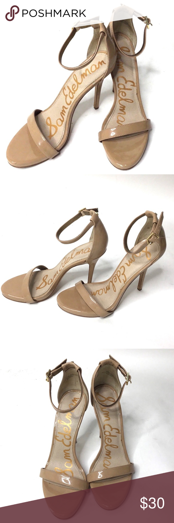 281f998c69797c Sam Edelman AMEE Ankle Strap Nude Patent Heels Good pre-owned condition