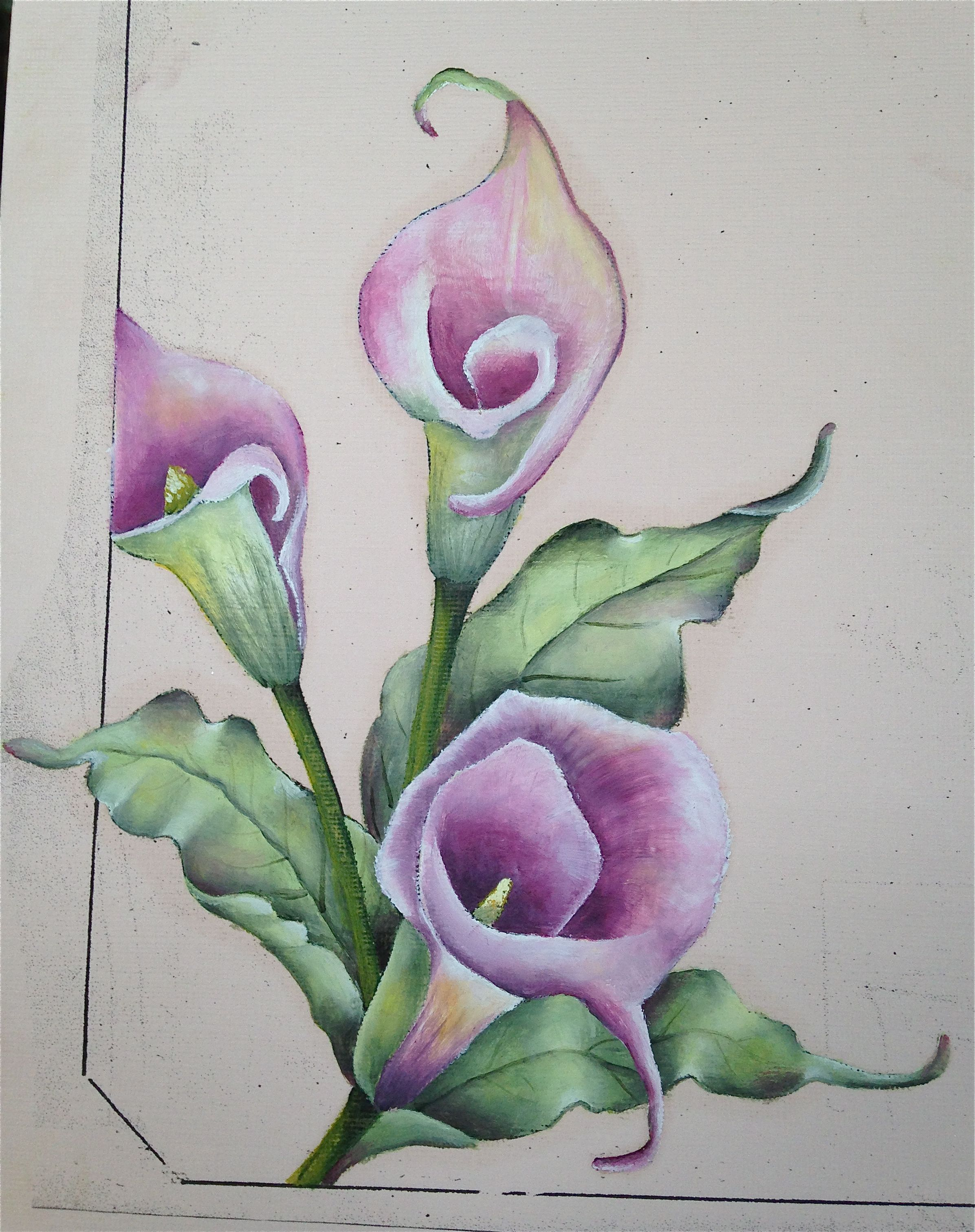 Calla Lily On Pink Cardstock With Winsor Newton Water Mixable