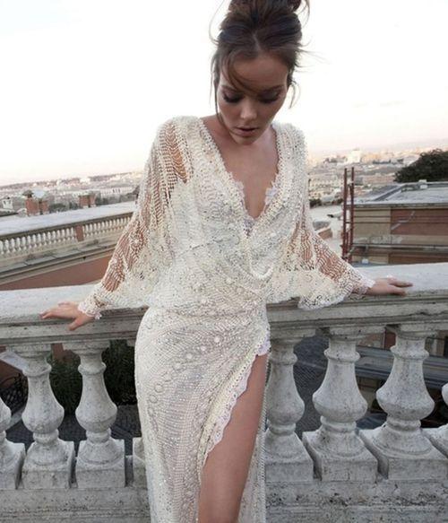 white lace & beading. wedding reception dress.