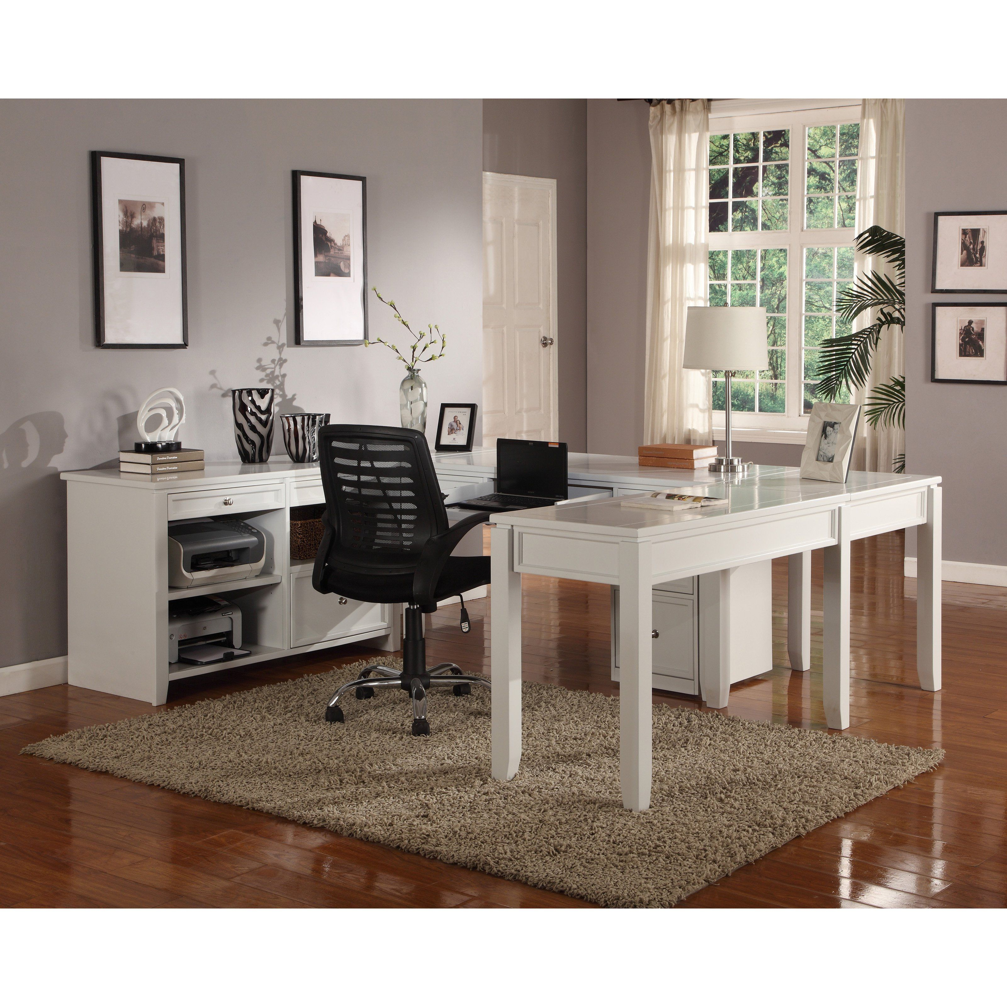Parker House Boca U Shaped Desk With Credenza Cottage White 1956 22 Hayneedle